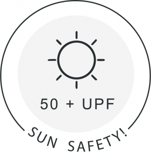 Sun Safety icon showing the Sun and 50+ UPF